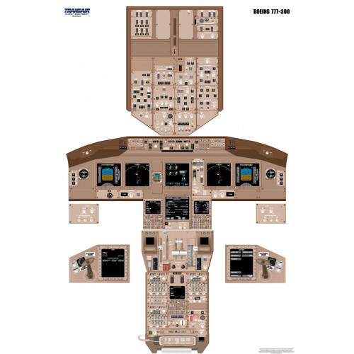 Boeing 777-300 Cockpit Training Poster