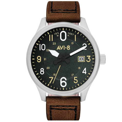 AVI-8 Hawker Hurricane Watch AV-4053-0B - Black Face & Brown Strap