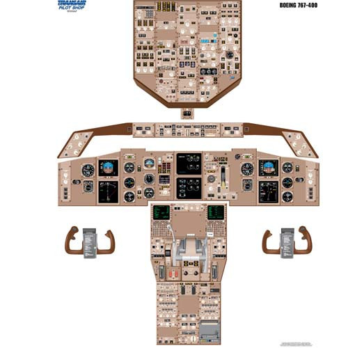 Boeing 767 - 400 Cockpit Training Poster