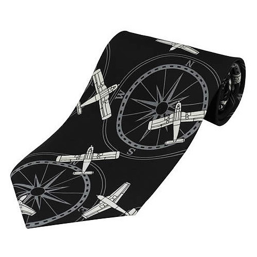 Tie-Black With White Planes & Compass