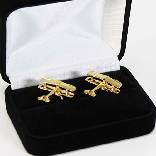Cufflinks Gold Plate Tiger Moth