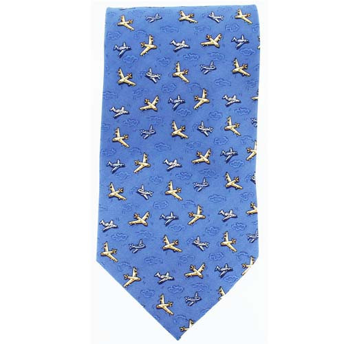 Tie - Commercial PLANES ON Light Blue-Silk