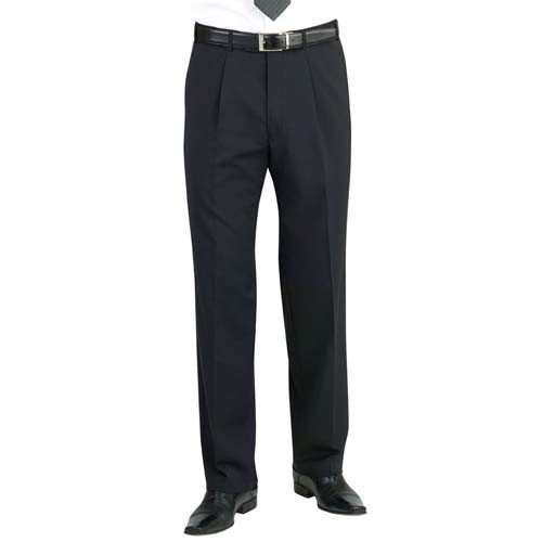 Mens Uniform Trousers - Single Pleat - Black