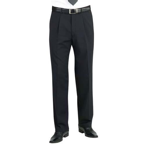 Mens Uniform Trousers - Single Pleat - Black