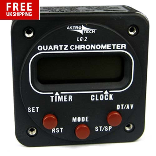 ASTROTECH LC-2 CLock 2 1/4 Panel Mount 12v-28v Battery Backup Version
