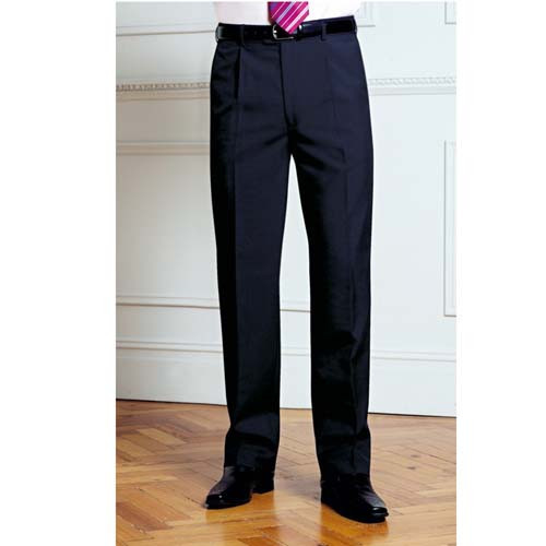 Mens Uniform Trousers - Single Pleat - Navy