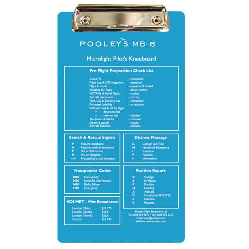 Pooleys MB-6 Microlite Pilots Kneeboard