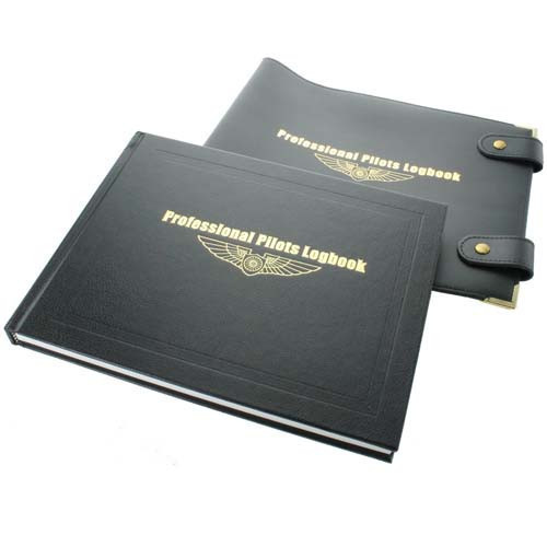 Transair Professional Pilots Logbook and Leather Cover Bundle