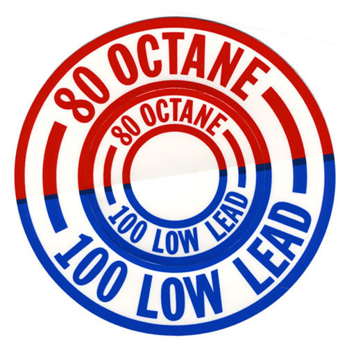 Decal -80 Octane/100 Low Lead (Red/Blue)