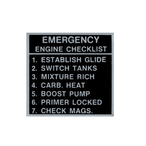 Placard-Emergency Engine Checklist
