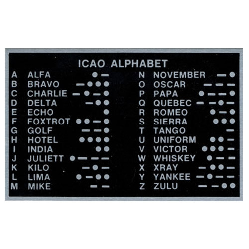 Placard-ICAO PhOnetic Alphabet (3.5 x 2.25)