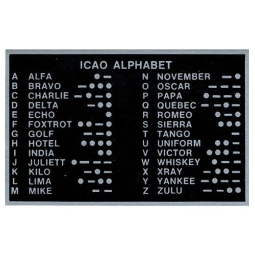 Placard-ICAO PhOnetic Alphabet (3.5 x 2.25)