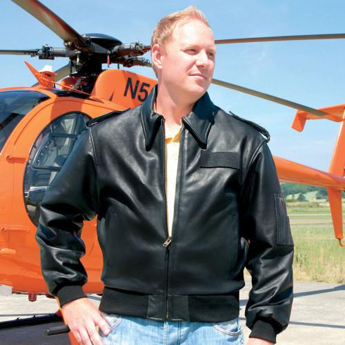 Transair Pilots Black Leather Flight Jacket