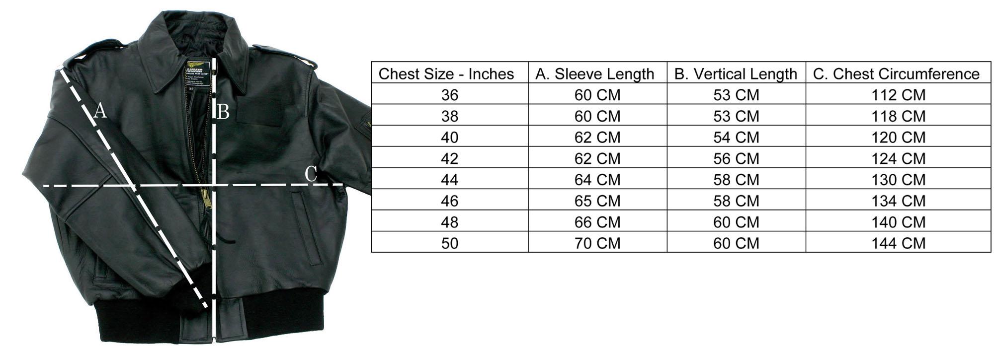 Leatherjacketsize